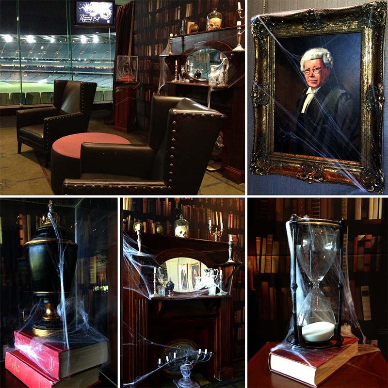 Haunted Library styling for the Melbourne Cricket Club's 'Haunted Masquerade' event at the MCG, Melbourne. October 2014