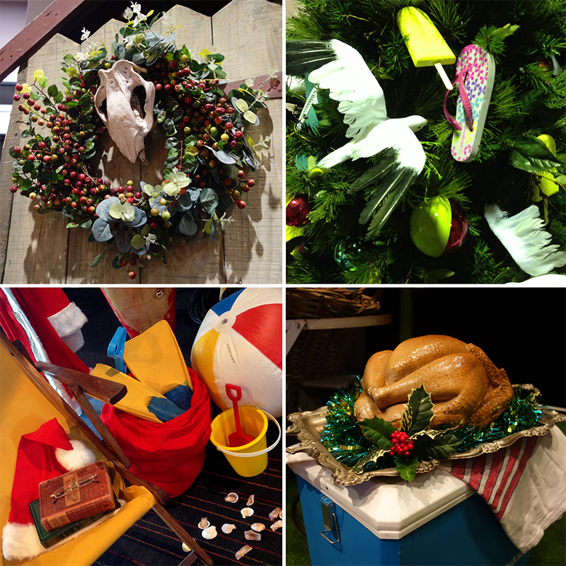 Optus corporate event styling with a quirky Australian Christmas theme at the MCG, Melbourne. December 2014