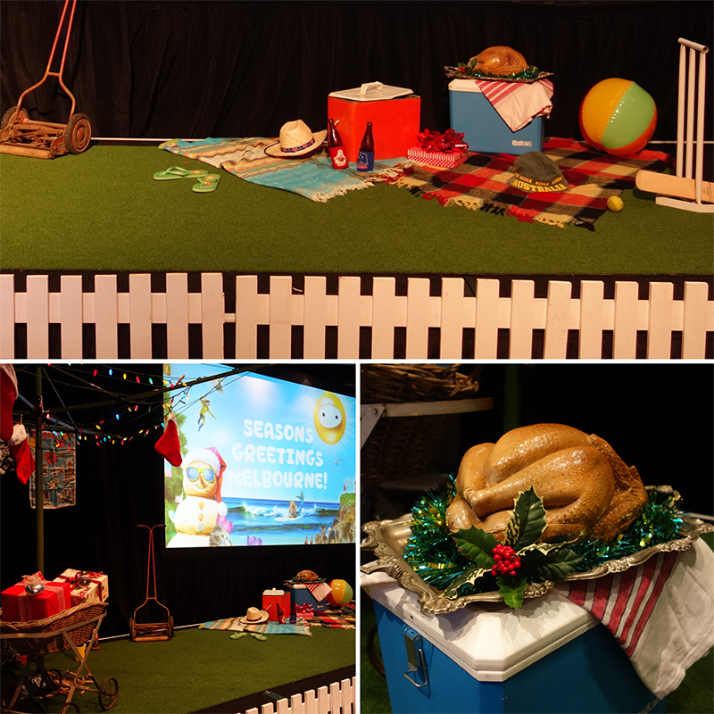 Optus corporate event styling in a quirky suburban Christmas theme at the MCG, Melbourne. December 2014