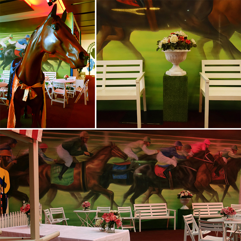 Westpac corporate event styling with a Spring Racing look at the MCG, Melbourne. October 2014