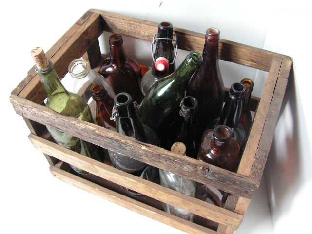 Prohibition Styling - Empty Bottles in Crate
