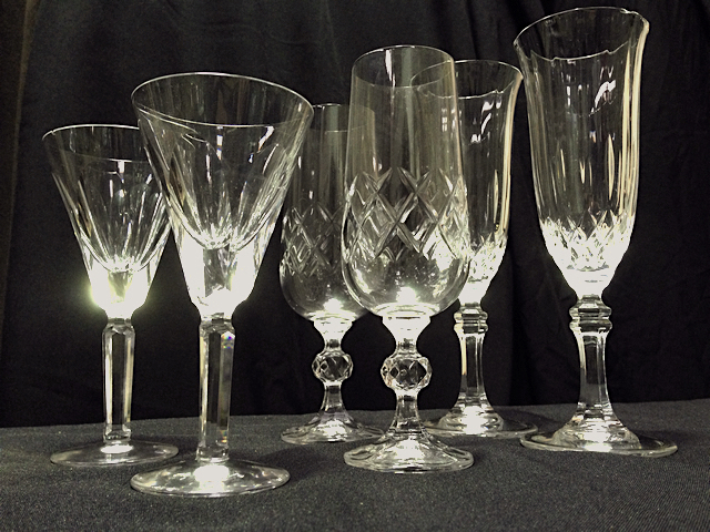 GLA0071 GLASSWARE, Crystal or Cut Glass - Champagne Flute Assorted $3.75