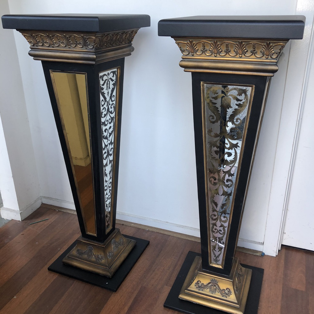PED0001 PEDESTAL, Baroque Black & Gold w Mirror Panels 1.2m H (Internal Item Only) $87.50