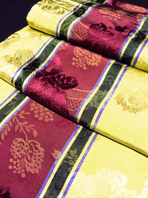 TAB0128 TABLECLOTH, Gold Burgundy Heritage Stripe 1.4 x 2m $10