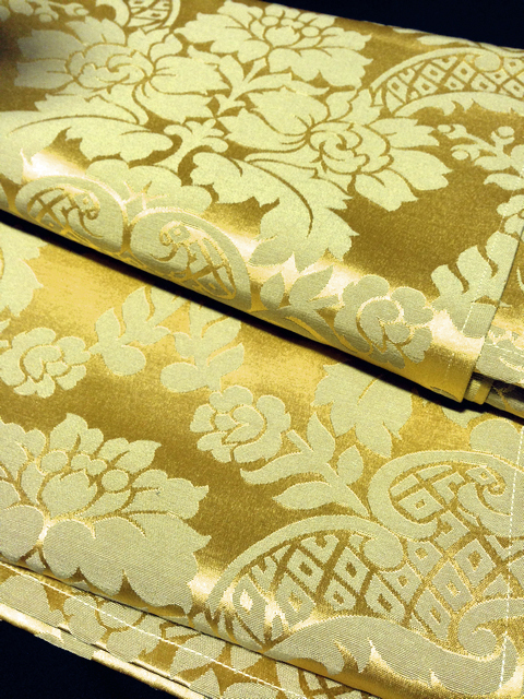 TAB0129 TABLECLOTH, Gold Damask 1.4 x 23m $12.50