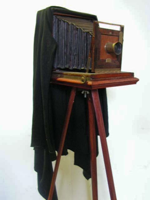CAM0001 CAMERA, 1900's Victorian Plate Camera on Wooden Tripod $112.50
