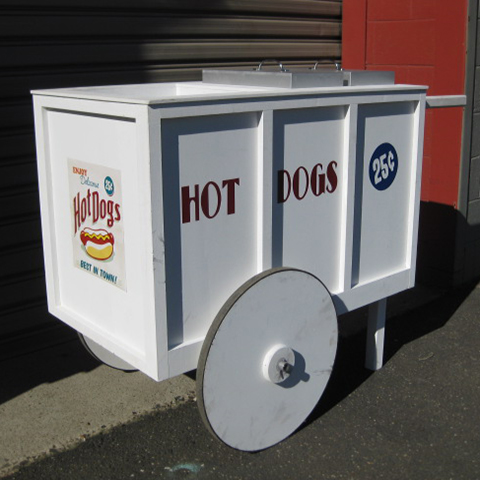CAR0005 CART, White Hot Dog Cart - Small $137.50