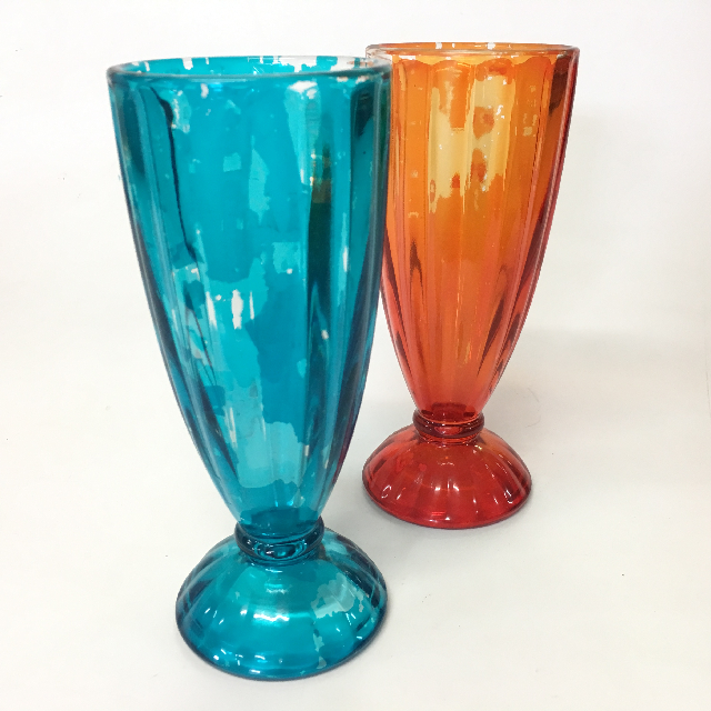 GLA0052 GLASSWARE, Milkshake Glass, Coloured Glass $2