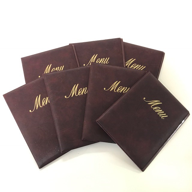 MEN0008 MENU, Burgundy Vinyl - Small Diner Style $3.75