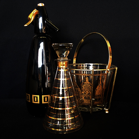 Assorted Cocktail Props, 1970s Black & Gold