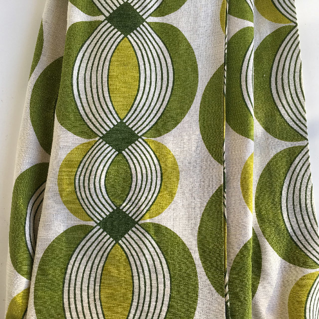 CUR0015 CURTAIN, Pair 1970s Olive Lime Retro $25