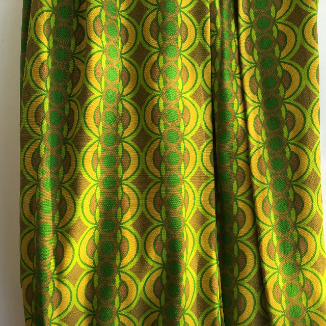 CUR0018 CURTAIN, Pair 1970s Green Olive Gold Retro $25