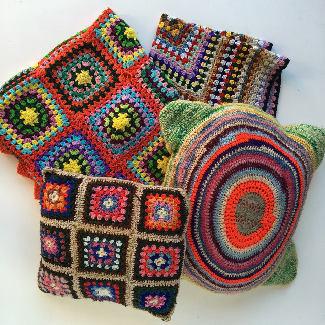 Assorted Crocheted Cushions & Throws