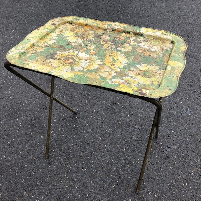 TAB0061 TABLE, Folding Tray 1960's - (Floral Rusted) $15