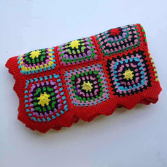BLA0110 BLANKET (Throw), Crochet 1970 Red w Square Design $18.75