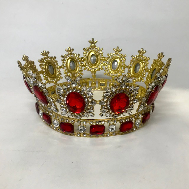 CRO0110 CROWN, Gold with Red Jewels 17cm Dia $22.50