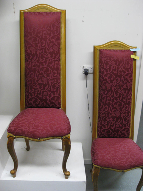 CHA0601 CHAIR, High Back - Red Damask Gold Frame $62.50