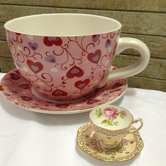 CUP0003 CUP & SAUCER, Oversized Pink Heart 30cm wide $12.50