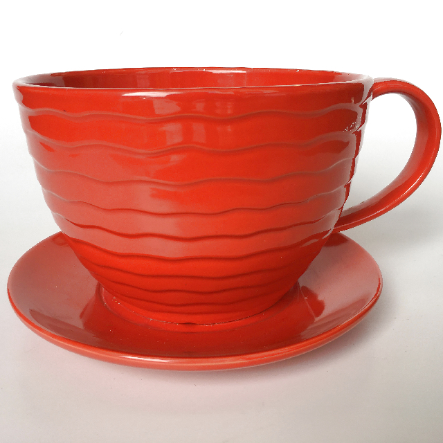 CUP0004 CUP & SAUCER, Oversized Red 30cm Wide $12.50