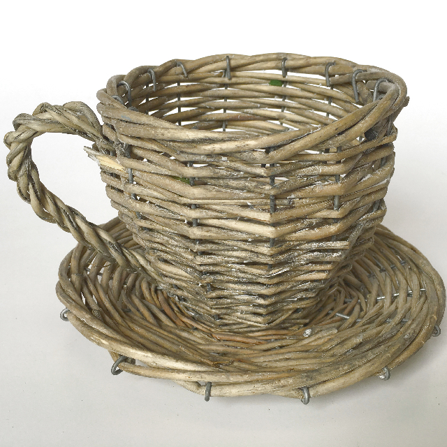 CUP0006 CUP & SAUCER, Oversized Wicker 30cm Wide $8.75