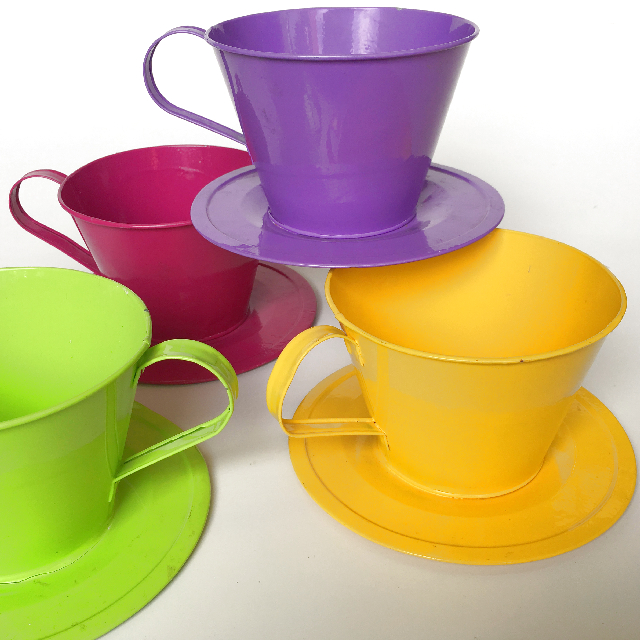 CUP0007 CUP & SAUCER, Oversized Metal - Assorted 12cm High $5