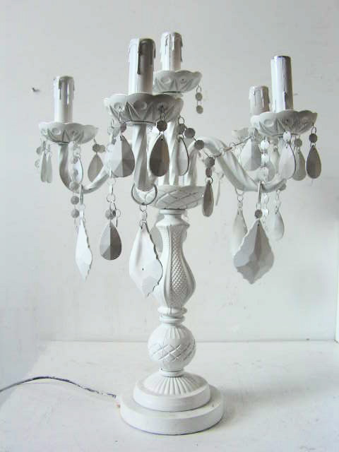 CAN0001 CANDELABRA (Table Lamp), Ornate White 5 Arm $30