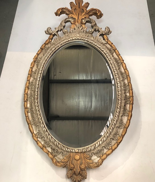 MIR0014 MIRROR, Ornate Oval Painted Gold Silver 70cm x 1.45m H $62.50