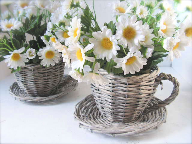 Wicker Tea Cups with Flowers