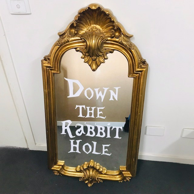 MIR0013 MIRROR, Ornate Gold - 'Down The Rabbit Hole' $62.50