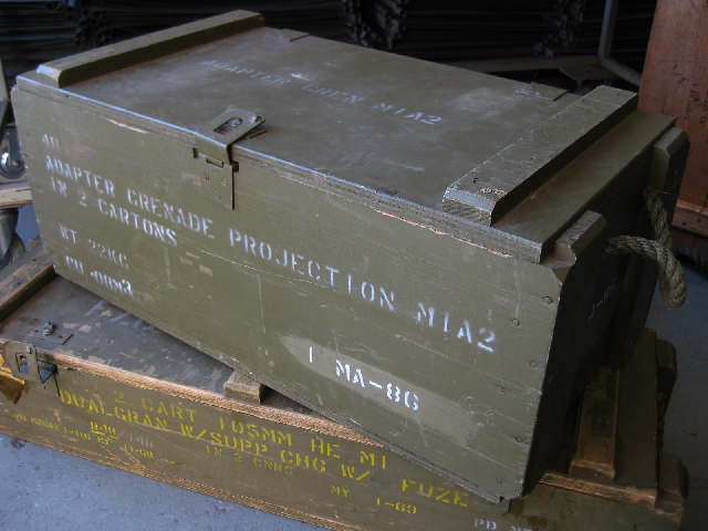 AMM0004 AMMO BOX, Wooden - Green (Rope Handles) 72x35x28cm $18.75