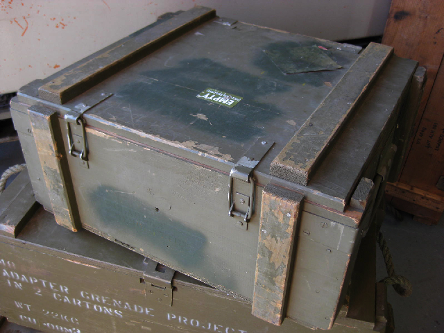 AMM0005 AMMO BOX, Wooden - Green (Metal Handles) 50x45x23cm $18.75