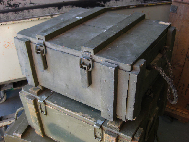 AMM0006 AMMO BOX, Wooden - Green (Rope Handles) 50x40x23cm $18.75