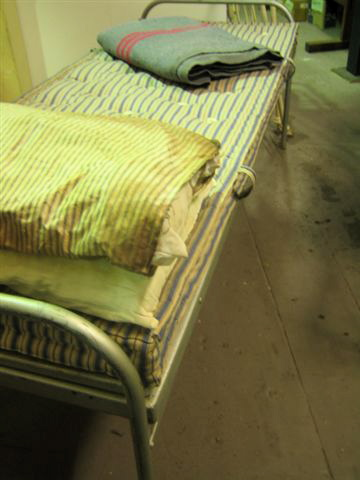 Metal Bed with Ticking Mattress