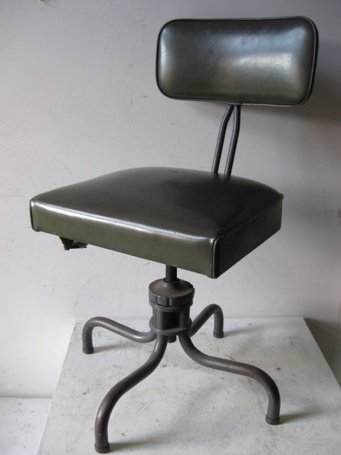 CHA0150 CHAIR, Office 1960s Swivel - Olive Green Vinyl $25