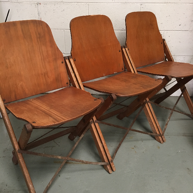 CHA0508 CHAIR, Folding Timber Theatre, Set of 3 $37.50