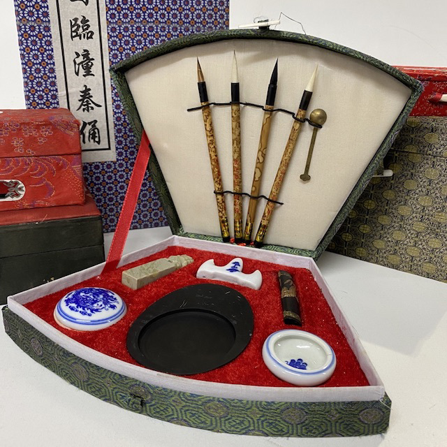 BOX0022 BOX SET, Asian Fabric Covered - Calligraphy Set $22.50