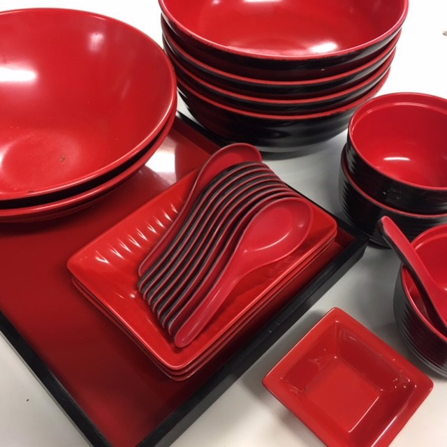 CRO0011 CROCKERY, Asian Style - Black and Red Melamine $1.25 Each Piece
