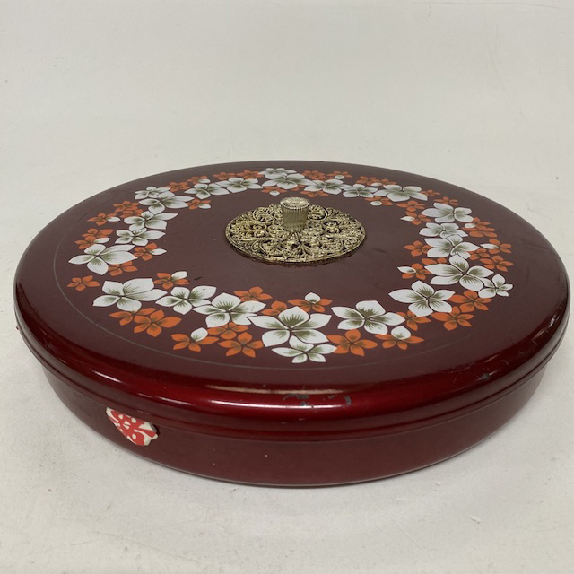 CON0150 CONTAINER, Dark Red and Blossom w Lid $6.25