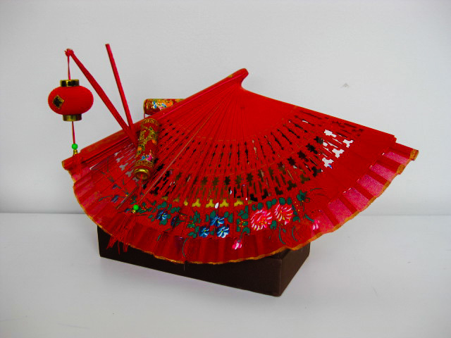 CEN0005 CENTREPIECE - Red Fan Mounted on Silk Covered Box $20
