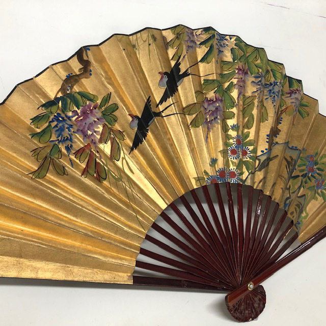 FAN0219 FAN, Asian Style - Large Gold with Painted Birds and Flowers 1.1m W $15