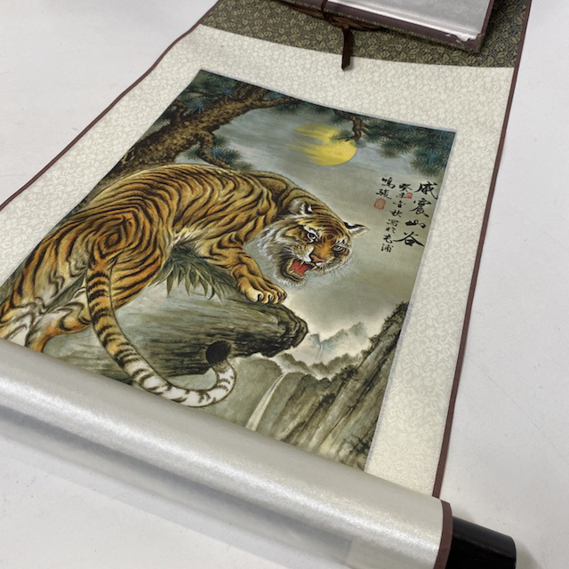 SCR0056 SCROLL, Painted Tiger - Silk $12.50