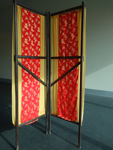 Screen - wooden screen with Chinese fabric panels, yellow side