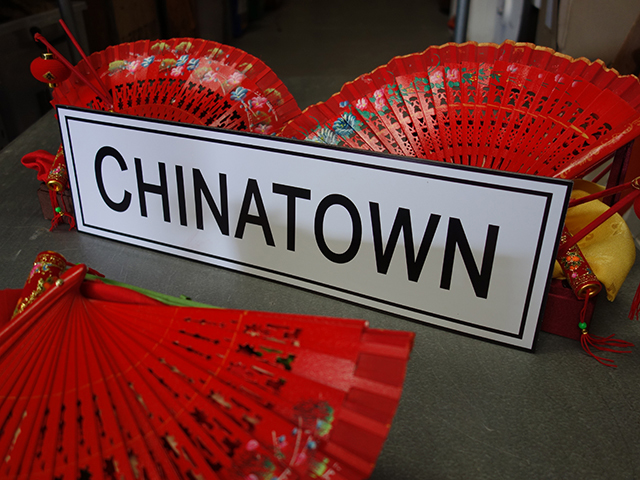 SIG0506 SIGN, Cart Sign - Chinatown Black and White $15