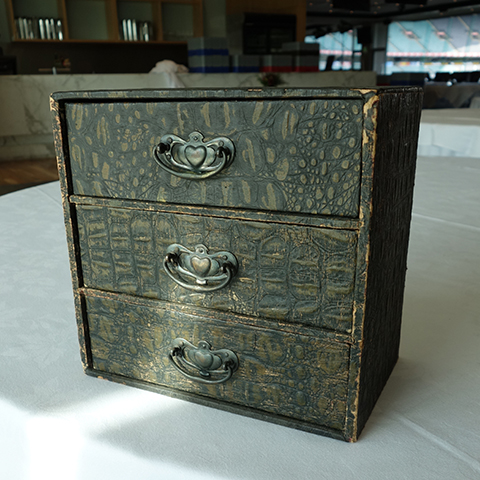DRA0001 DRAWERS, Small 3 Drawer Unit - Faux Croc Leather $15
