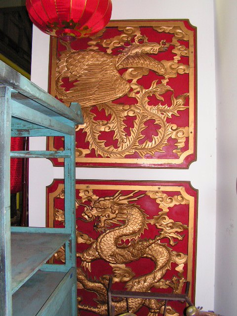 WAL0109 WALL PANEL, Asian Decorative Chinese w Gold Dragon on Red $17.50