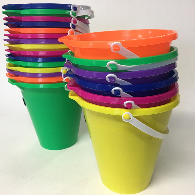 BUC0034 BUCKET, Colourful Assorted 22cm High $1.25