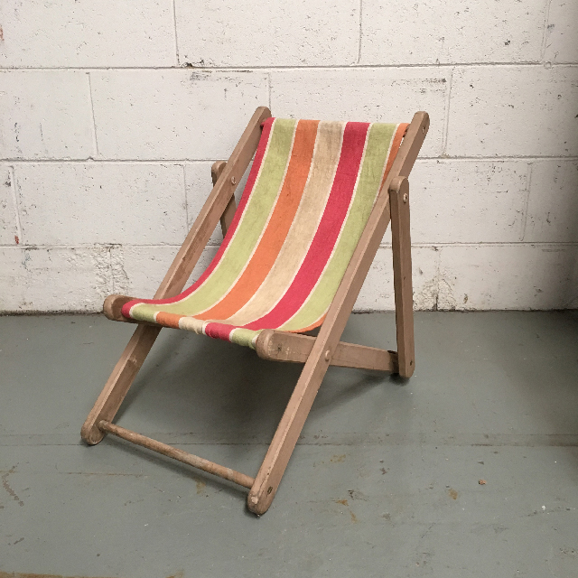 CHA0705 CHAIR, Deck Chair - Kids Pastel, Natural Timber Frame $15