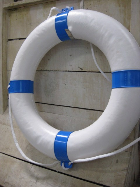 BUO0014 BUOY, Lifering - White w Blue Bands $25