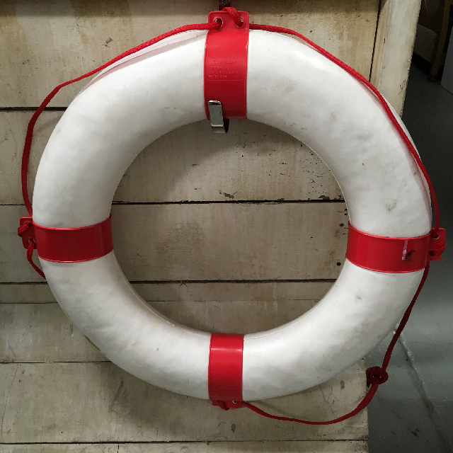 BUO0015 BUOY, Lifering - White w Red Bands $25