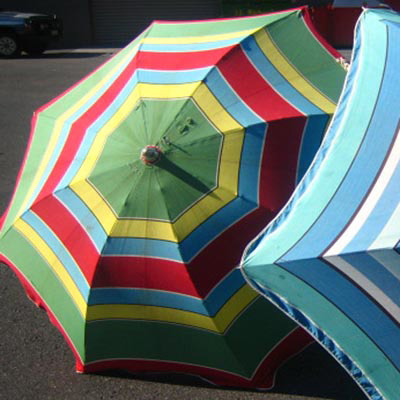 UMB0108 Umbrella, Beach - vintage red, blue and green stripe (in fairly damaged and faded condition) $18.75